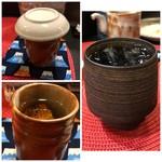 小料理家 せいこ - ◆最初に二人ともヒレ酒(700円)を頂きましたが美味しい。日本酒追加は450円。 そのあと芋焼酎(500円)を。