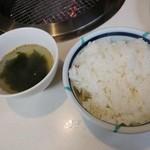 101883113 - ご飯とスープ付き                       ご飯  中サイズ(大中小の中から選べます)                       中サイズでもかなり多い~