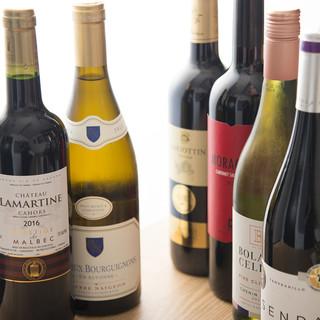 グラスワインはたっぷり飲める6杯取りで心ゆくまで堪能できます