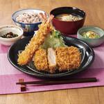 かつ敏 - 料理写真:天然車海老と三元豚ヒレかつ定食