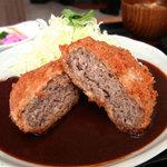 とんかつキッチンかつ茂 - 洋風ハンバーグカツレツ定食¥680