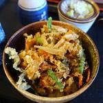 101916247 - さんま・野菜のかき揚げ天丼と二八ざる1380円