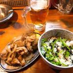 壱豚 - ◆生ビール 420円 ◆しょうが焼き 480円 ◆ピーマンご飯 280円