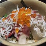 102007087 - タコ、ホタテ、シラスなど入った豪華海鮮丼。