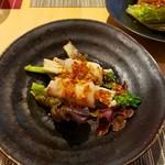 Chuugokusaishinka - 豚肉のえのき、菜の花巻き麻辣ソース仕立て