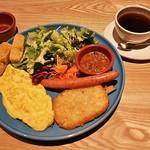ダックストリート カフェ - グッドモーニングプレート(950円+税)、ドリンクセット・ブレンドコーヒー(150円+税)