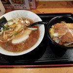 升亭 - 醤油ラーメン+煮かつ丼(680円)