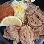 どんちゃん食堂 - 豚生姜、鶏唐、コロッケ。
