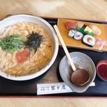 102082466 - あんかけ仕立て明太子のたまごとじうどん                       寿司定食付 1400円