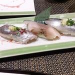 江戸前 びっくり寿司 - 光もの三種