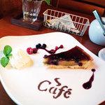 10212130 - ケーキセットのケーキ(チェリーのタルト)