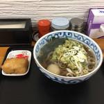 稲浪 - 春菊天そば380円、いなり60円