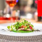 102155209 - 津アジと春菊のピューレ  ルッコラのサラダ
