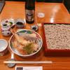 明月庵 ぎんざ 田中屋 - 料理写真:大海老天丼・蕎麦定食 2,280円 ビール中瓶 870円