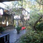 ふみくら茶屋 - テーブル席からの庭の眺め