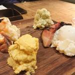 椿サロン - 4色のポテサラ(バジル、燻製ベーコンと半熟卵、塩辛)950円