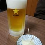 鳥源 - 生ビール550円 この辺りはビール高いと思う...