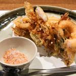 和洋食 かぶら - 芝エビと野菜のかき揚げ 海老塩で880円('19.1月下旬)
