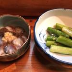 山小屋 - ナマコ酢、アスパラ