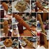 ひげ勝 - 料理写真:大好きな海老は真ん中♪ 左上から時計回りに。。。 蟹爪、ドテ焼き、牡蠣、アスパラガス イカ、椎茸、串カツ(豚肉)と、取り忘れの 紅生姜と、穴子、蓮根(笑)
