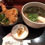 麺酒房 文楽 - 天丼ととろろ昆布そばセット 860円