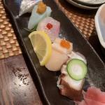 味の樹 - 握り鮨五種盛り