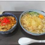 ごちそう市場 - 料理写真:天玉うどん+ミニカツ丼