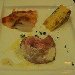 La cucina del Covo - 真鯛のカルパッチョ、豚肉とチーズソース、ソーセージのキッシュ