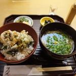 102347970 - ランチ:ふきのとう・菜の花・小蕪の天丼と菜の花辛子煮麺、季節の小鉢、漬物