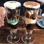 カフェ フクバコ - チョコミントパフェと焼きバナナチョコパフェ