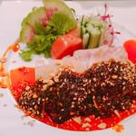 中華バル 88 from 岩手&眞 - 清流鶏の冷菜 500円 よだれソース