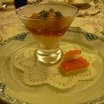 レストラン鯛萬 - 料理写真:5,250円(サ10%別)のコース 前菜:タラコとクリームチーズのムース