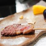 山猫軒 - 見島牛のともバラ、ミスジの串焼き