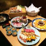 魚王KUNI - 特選コース 美味しい刺身・寿司・海鮮うどんすき