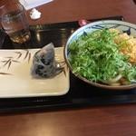 丸亀製麺 - かけうどん大(ネギ&天かす トッピング)と鮭おにぎり