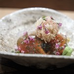 虎白 - お造り メジマグロ炙り 酢ジュレ