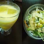 ヒマール キッチン - マンゴーラッシー&サラダ