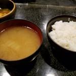 しゃぶ辰 - ご飯と味噌汁
