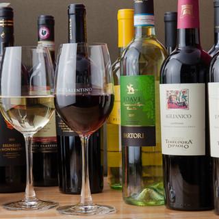約20種のイタリア産ワインをご用意◎乾杯はスプマンテで♪
