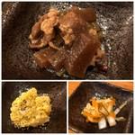 酔店 とーごー - *コンニャクとお肉のピリ辛煮・・これ美味しい。 他に「ポテトサラダ」「なます風の品」など。