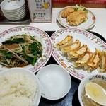 餃子の王将 - ニラレバ定食+JS鶏の唐揚げ