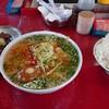 とん平食堂 - 料理写真:辛口ホルモン麺と純レバー、ライス大
