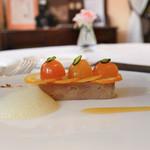 102639627 - アルマニャックコニャックで味付けしたフォアグラのテリーヌ、宮崎産きんかん。オレンジ