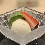 味あら井 - ●栗と小豆アイス、抹茶ババロア、あまおう苺