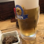味処 陣屋 - 臭みがなく、美味しい生ビール、ありがとう