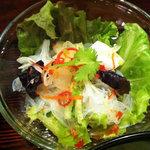 渋谷 輪和話 - サラダは春雨入り。パクチーが載っててシアワセ~
