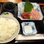 マックモア - ハーフ&ハーフ(マグロとメカジキ)定食(980円)