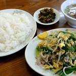 大陸飯店 - 肉ニラ炒め定食 ¥750