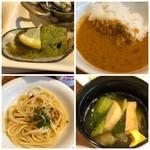 グランカフェ - ◆キーマカレーは少し辛めですけれど、挽肉タップリで美味しい。 ◆佐伯産真鯵のペペロンチーノ・・真鯵は少なめですけれどシッカリお味を感じますし、ペペロンチーノ辛味も丁度いい。 ◆ムール貝はエスカルゴバター風に焼かれ好み。 ◆汁物はおでん風でもなく不思議な味わいでした。
