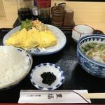 豊福 - だし巻き玉子定食700円、漫画盛りレベルのご飯でいただきます!(2019.2.27)